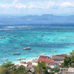 View northwest from Nusa Lembongan to Bali