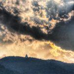 Peace Pagoda towering above Pewa Lake