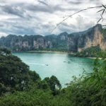 View to Railay Bay from karst limestome cliffs above the beach