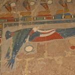 Original paint detail at the temple of Queen Hatshepsut